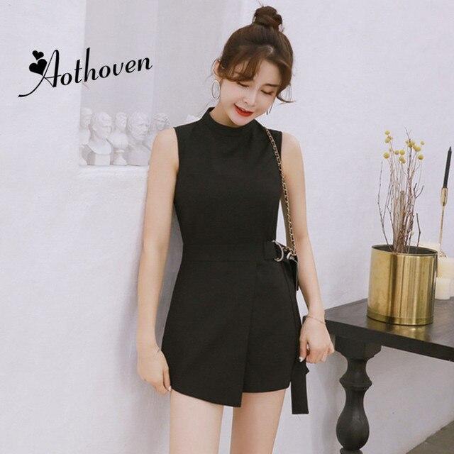 5fe0490e47 Summer Office Shorts Playsuit Women Black Sleeveless O-Neck Casual Jumpsuit  Vintage Elegant Lady Bodysuit