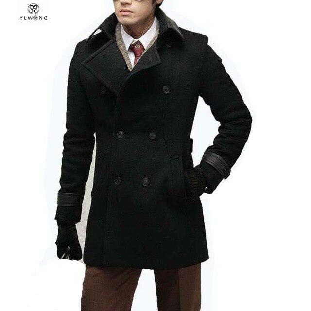 Luxury Mens Wool Winter Jacket Long Woolen Overcoat Leather Collar Warm Outwear For Men XXL Black Coat Jaqueta