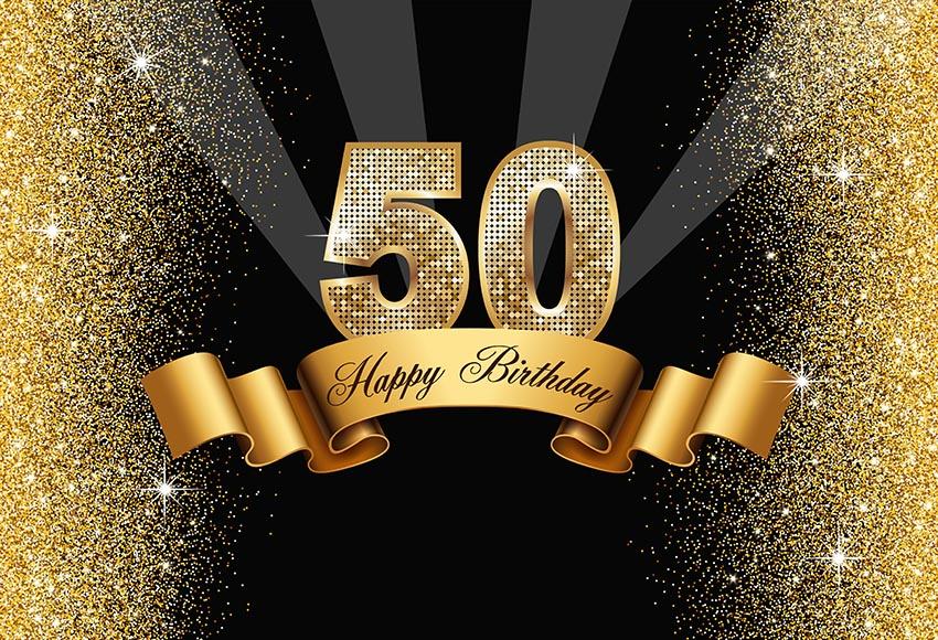 Us 825 34 Offvinyl Fotografi Latar Belakang Kustom Mewah 50th Dewasa Pesta Ulang Tahun Emas Lampu Dekorasi Merayakan Photobooth Studio In