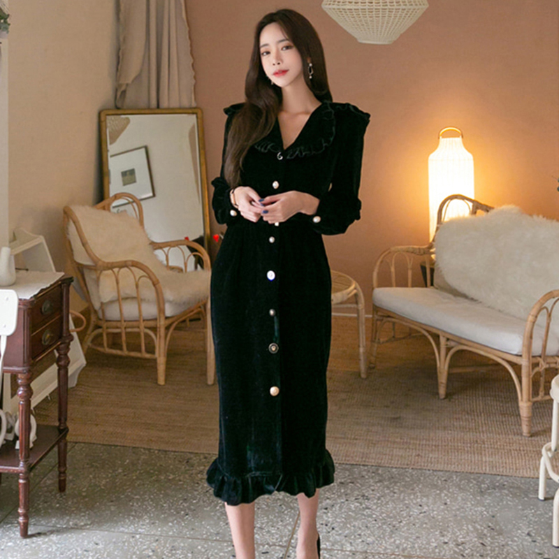 Vintage Single Breasted Velvet Women Long Dress Turn-down Collar Ruffles Female Vestidos femme Elegant Slim Waist Winter Dress