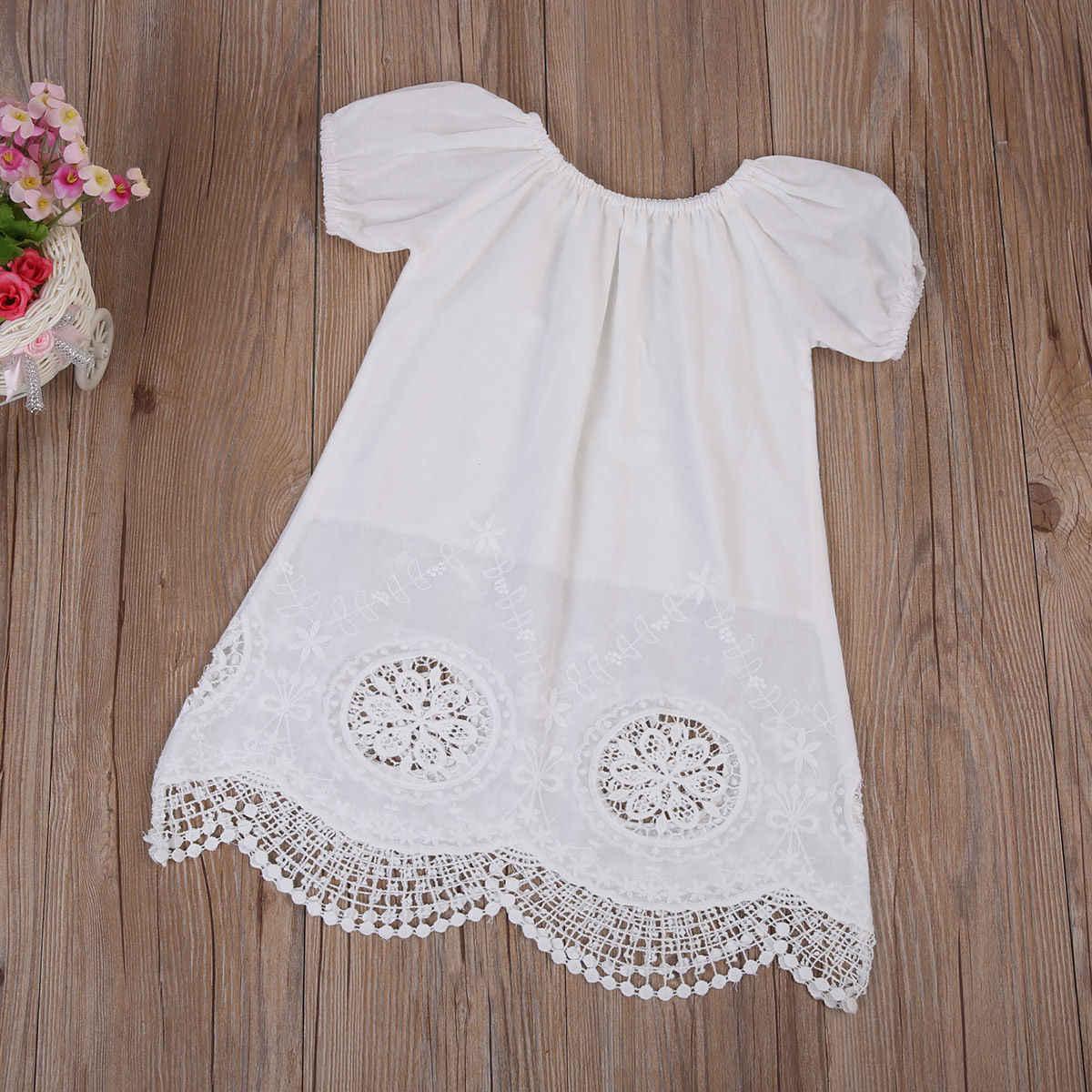 От 0 до 4 лет, детское платье с короткими рукавами для маленьких девочек белое кружевное хлопковое Открытое платье пляжные, вечерние, праздничные, свадебные платья для девочек туника, одежда для маленьких девочек
