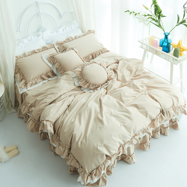 Us 84 0 40 Off Brown Red White Pink 100 Cotton Beddings Set Twin Queen King Size Bed Sheet Set Bed Cover Bedskirt Set Duvet Cover Pillowcase In