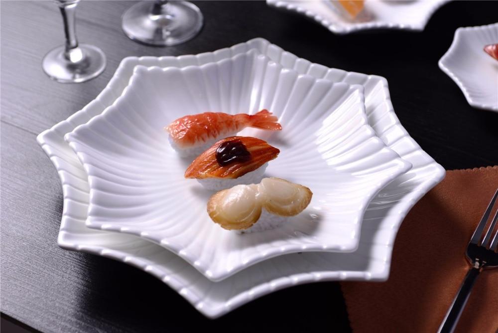 Service de service octogonal en céramique   Assiette à dîner décorative en porcelaine, vaisselle en porcelaine pour pâtisserie, salade et entrée - 3