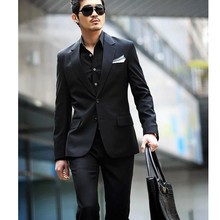 Handsome men formal occasio high quality business shirt suit elegant custom pure color groom suit two-piece (jacket + pants)