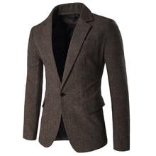 Dropping Shipping Blazers Men Solid Slim Fit Formal Male Blazer Single Button Smart Casual Mens Blazers