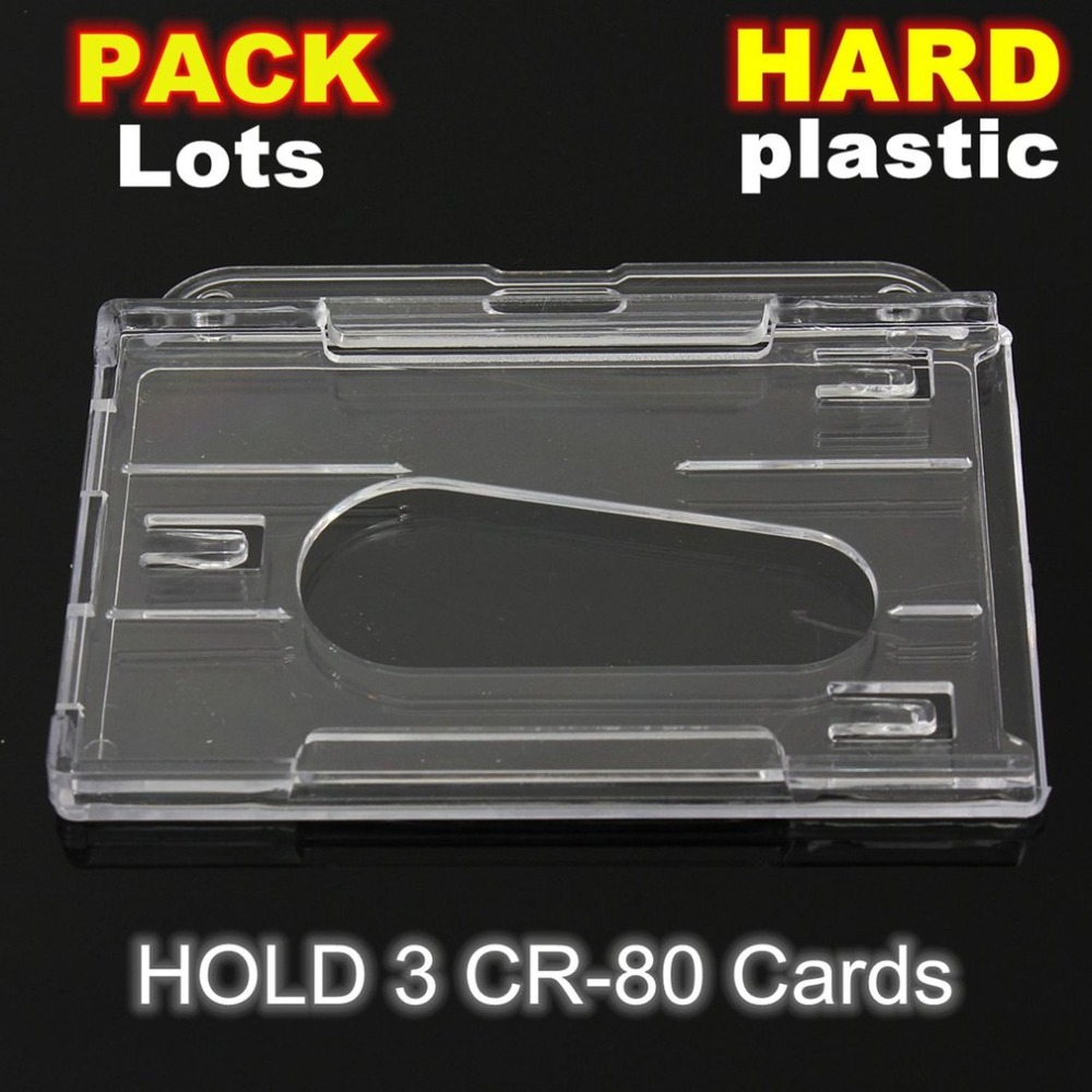 1Pcs Hard Plastic Double-faced Card Holder Transparent Clear Horizontal ID Badge Holders Card Cover Easy Access Thumb Notch
