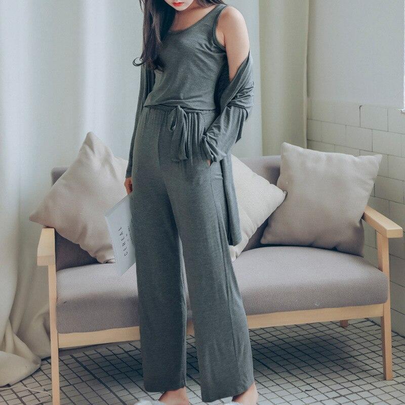 3Pcs/  Set   Women Pyjama Modal Cotton Sexy Lingerie Robe Pants   Pajamas     Sets   Spring Autumn Simple Casual Sleepwear Homewear