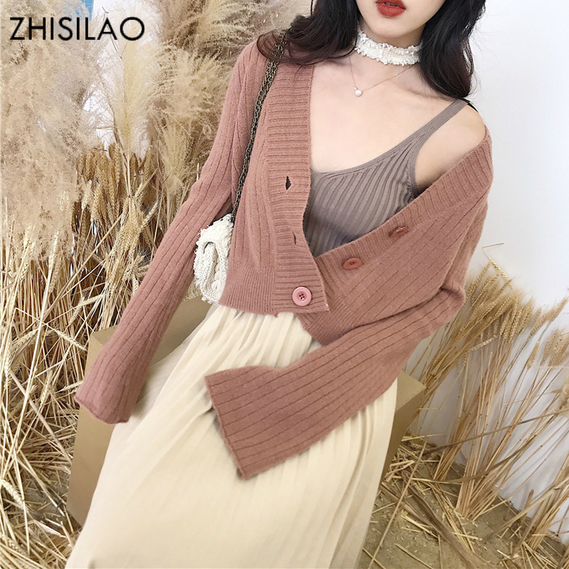 ZHISILAO 2018 Winter Woman Sweater Woman Knitted Sweater Cashmere Pull Femme Hiver Woman Poncho Sweate Cardigan Woman Crop Top