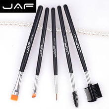 JAF JE0501S-B  Eye Makeup Brush Set Eyebrow Comb Flast Angled Fine Eyeliner Eyelash Mascara Spoolie Brushes Vegan
