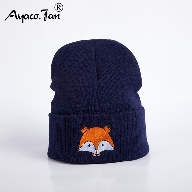 2019 New Knitted Winter Caps Women Men Soft Warm Beanie Knit Cap Crochet Elasticity Hats Skullies Female Ear Embroidery Fox Hat 1
