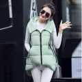 Plus Size Winter Coat Women 2016 Parkas Long Cotton Padded Loose Cloak Vest Hooded Sleeveless Wadded Jacket Solid Outerwear Z17