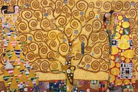Abstract Gustav Klimt Oil Painting on Canvas Handmade The Tree of Life, Stoclet Frieze,1909 Wall Art for Living Room Decor