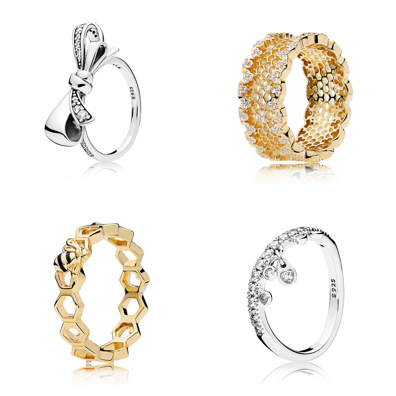 New 925 Sterling Silver Ring Golden Shine Honeycomb Lace Bee Brilliant Bow Ring For Women Wedding Gift Fine Pandora Jewelry