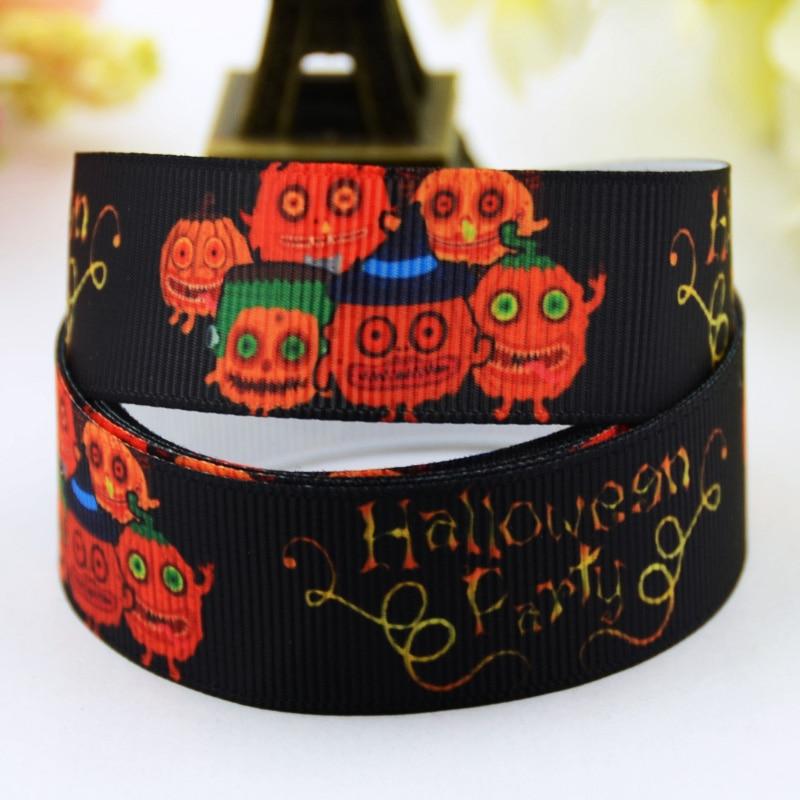 Halloween Pumpkin Cartoon Character Printed Grosgrain Ribbon Party Decoration Satin Ribbons X-00477 10 Yards Energetic 7/8 22mm