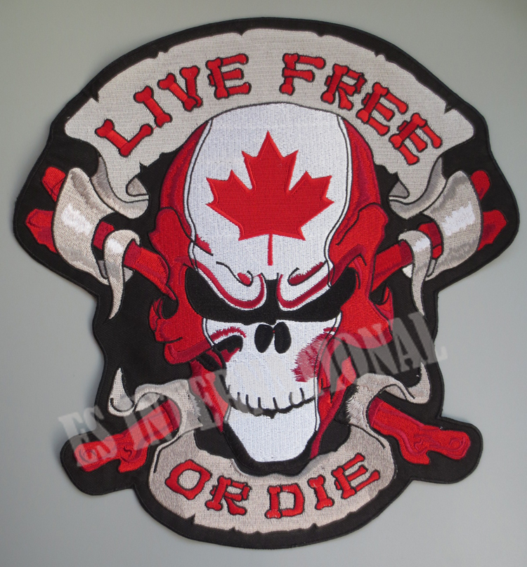 12 inches large Embroidery Patches for Jacket Back Vest Motorcycle Biker Sew on CANADA Maple Leaf Skull LIVE FREE OR DIE