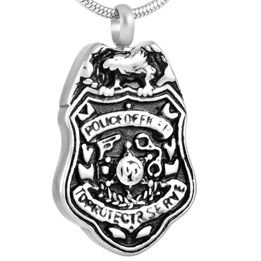 "MJD8398 Bling Cremation Jewelry Steel US Army Dog Tag Engraved ""Police Of Ficer"" Bald Eagle Urn For Ashes Memorial Pendant"
