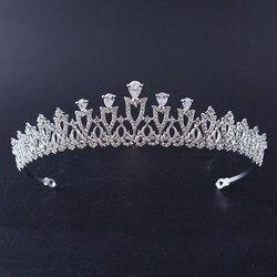 Gorgeous CZ Crown Bridal Crystal Tiaras Crowns Princess Queen Pageant Rhinestone Veil Tiara Headbands Wedding Hair Accessories