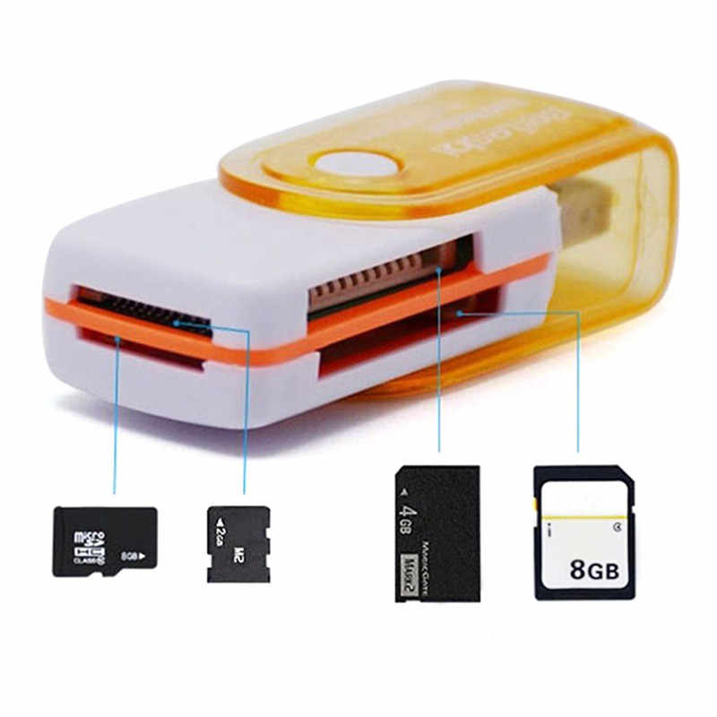Mini All in One USB 2.0 Smart Card Reader SD//MMC//TF//Micro MS M2 Card Reader 4 Card Slot Memory Cardreader for MS Pro Duo SDHC