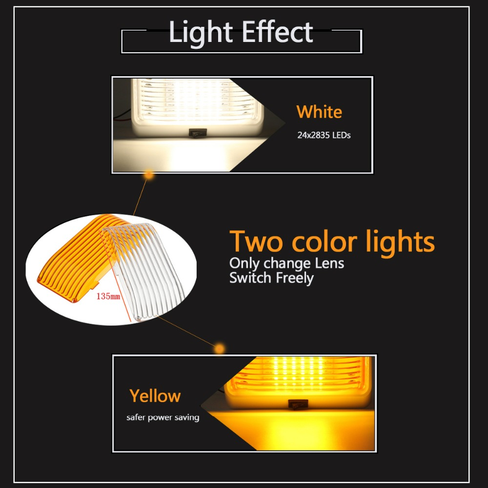 Autoleader 24 Led Roof Ceiling Interior Reading Dome Light For Boat Trailer Lights Are Easy To Understand And Change Camper Car Rv 12v Porch Rectangle Clear Amber In Signal Lamp From
