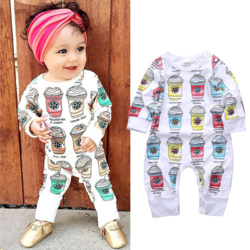 662aad6c00ff Newborn Kids Baby Girls Long Sleeve Romper Printed Cool Drinks Cotton  Outfits