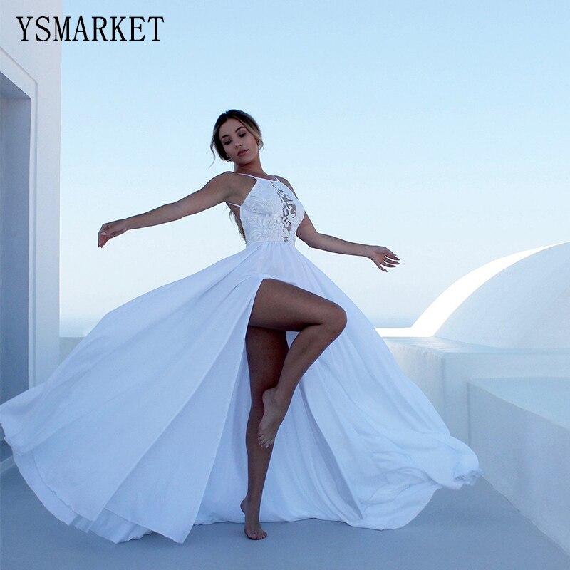 YSMARKET moda verão mulheres vestido de renda branco longo vestido sexy roupas femininas vestidos branco vestido suspender E804