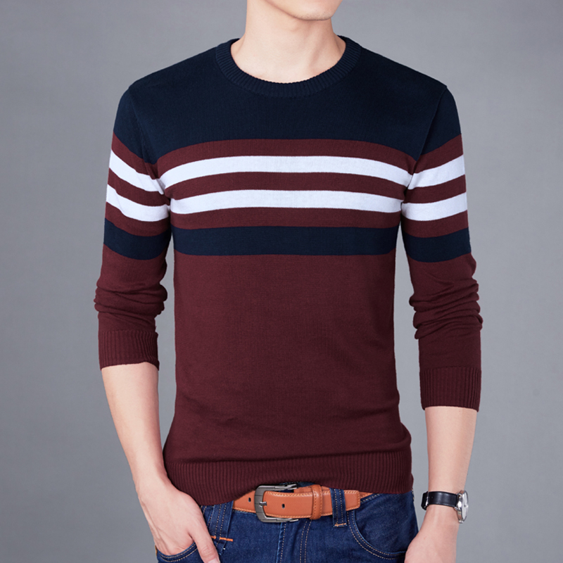 Sweater Pullover Men 2018 Male Brand Casual Slim Fight Color High Quality Simple Men Hedging O-Neck Sweater 4XL