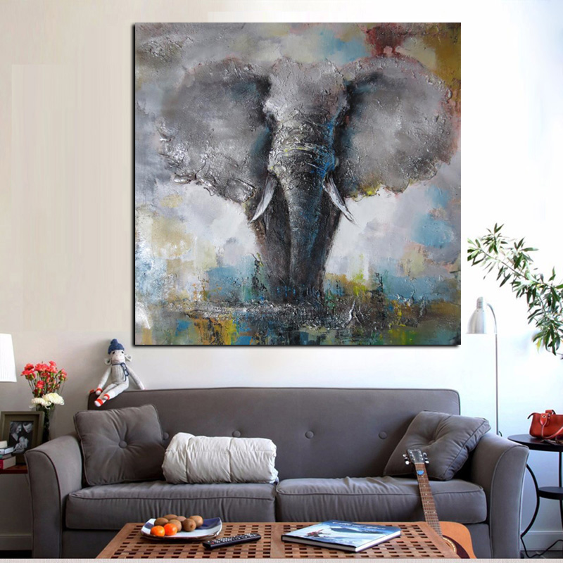 Wall Art Canvas Artistic African Elephant Print Abstract Animal Oil Painting on Canvas Poster Modern Wall PictureFor Living Room (2)