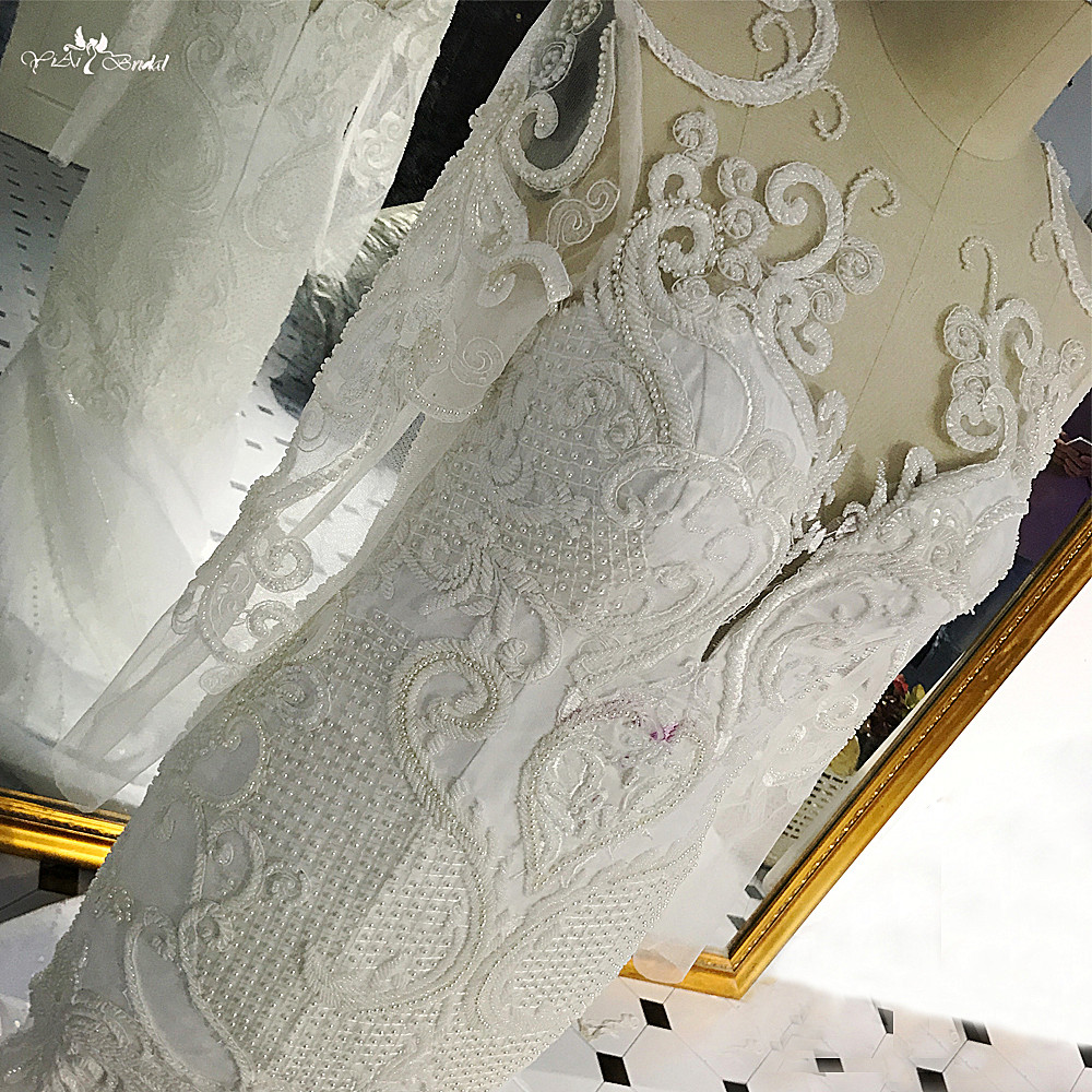 RSW530 New Slim Sirène Illusion Manches Longues Sirène Perlée Lourde Robe De Mariage