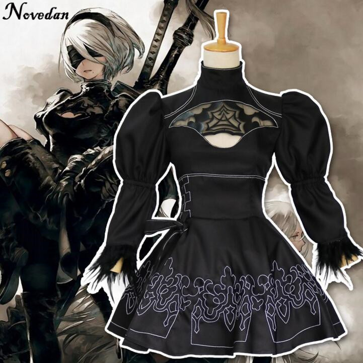 Nier Automatas Cosplay Costume Women Anime Role Play Outfit Games Yorha 2B Disguise Dress Party Fancy Carnival Girls Black Suit