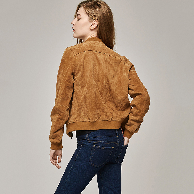ESCALIEA Fashion Womens Pigskin Jacket Baseball Leather Jacket Locomotive Style Casual Genuine Leather Coat
