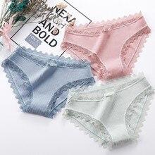 Roseheart 2019 New Women Fashion Cotton Lace Bow Low Waist Panties Underwear Lingerie Briefs 3 Piece Color M L XL