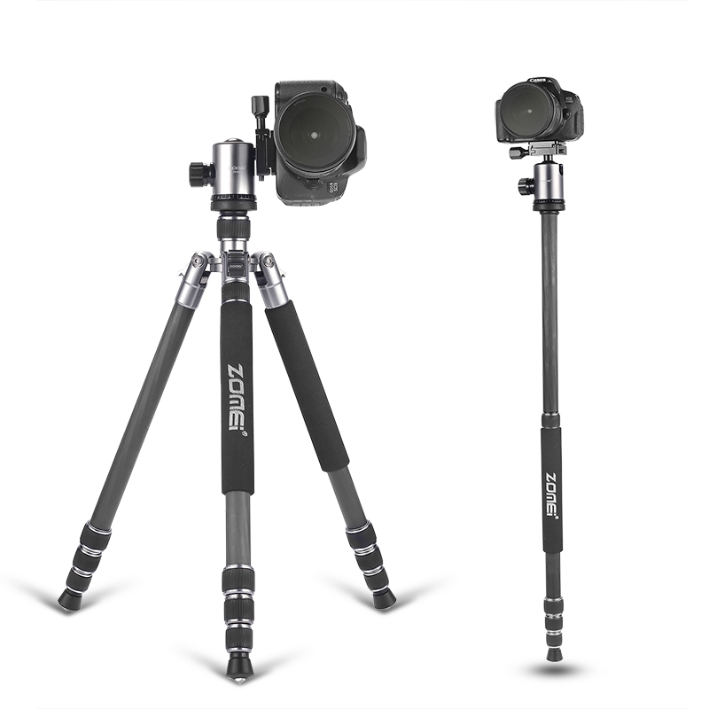 ZOMEI tripod 5 colors Z818C Professional Travel Carbon Fiber camera tripod Monopod&Ball head with case for DSLR Canon camera