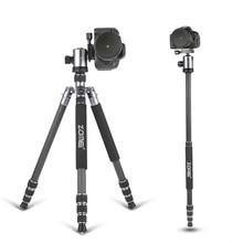 ZOMEI trípode 5 colores Z818C Viajes Profesional Fibra de Carbono trípode de cámara Monopod y cabeza De la Bola con el caso para DSLR Canon cámara
