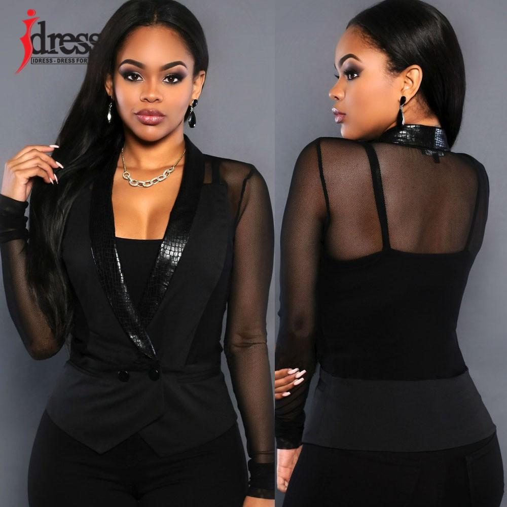 IDress Women Blazer Jackets 2016 Fashion Mulher Sexy Blazer Women Button Veste Femme Blazer Mesh Leather Partchwork Long-Sleeve Slim Blazer Women Blazers (1)