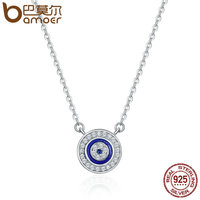 BAMOER Hot Sale 100 925 Sterling Silver Lucky Blue Eye Clear CZ Pendant Necklace Women Luxury