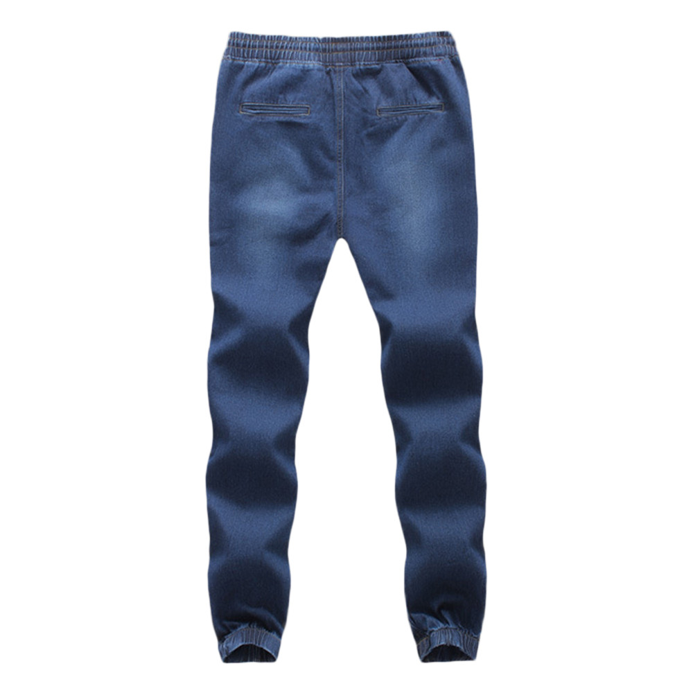 Sweatpants For Men Casual Autumn Denim Cotton Elastic Draw String Work Trousers Jeans Pants Military Pants Calça Masculina W311