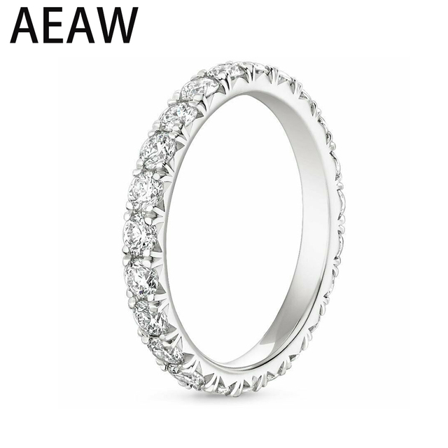 AEW Solid 14K 585 White Gold 1.2ctw 2mm DF Color Moissanite Eternity Wedding Band Moissanite Ring for Women Ladies Ring