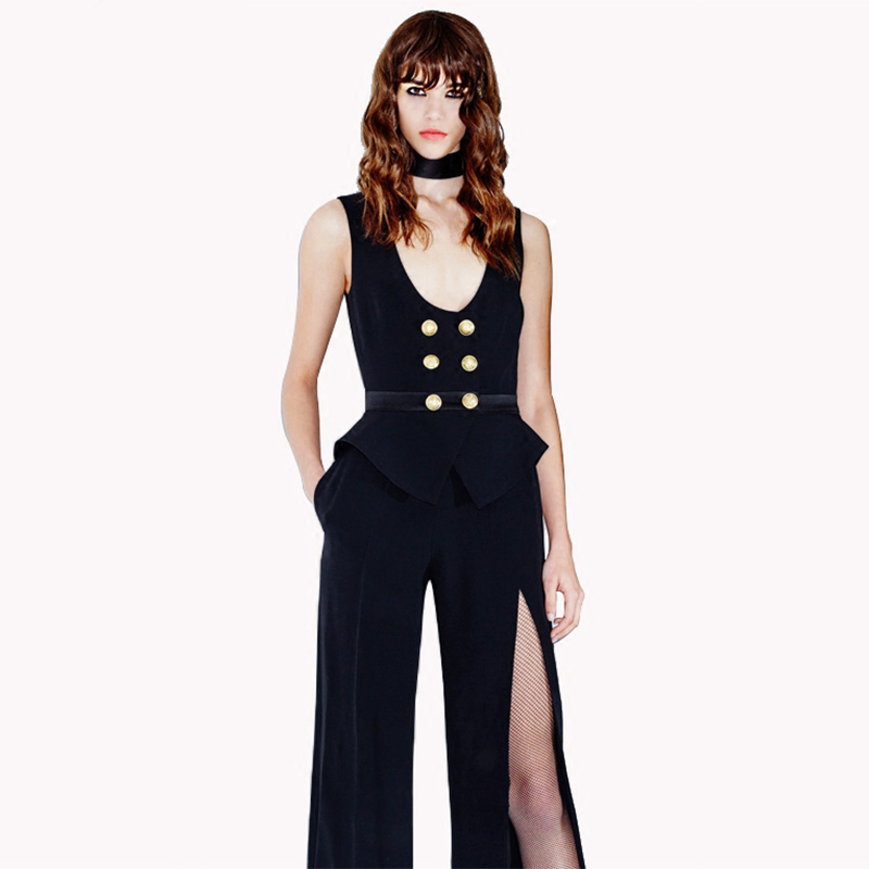 d2a5c3d1880 Bqueen 2017 New Black Sleeveless Jumpsuit With Double breasted Button Long  Pants Split Trouser Wide Leg Jumpsuits -in Jumpsuits from Women s Clothing  on ...