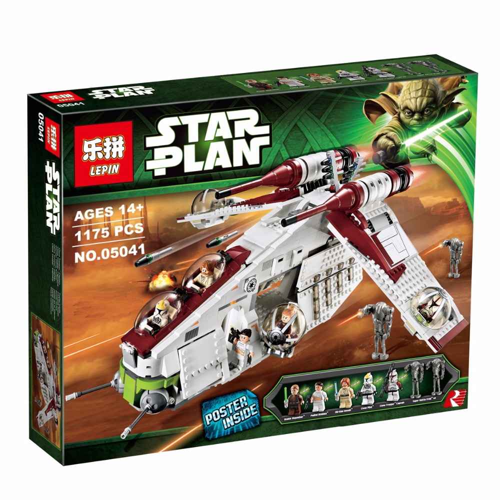 2017 New LEPIN 05041 1175Pcs Stars Wars Republic Gunship Model Building Kits Set Blocks Bricks Compatible Toys Gift 75021 lepin 22001 pirate ship imperial warships model building block briks toys gift 1717pcs compatible legoed 10210