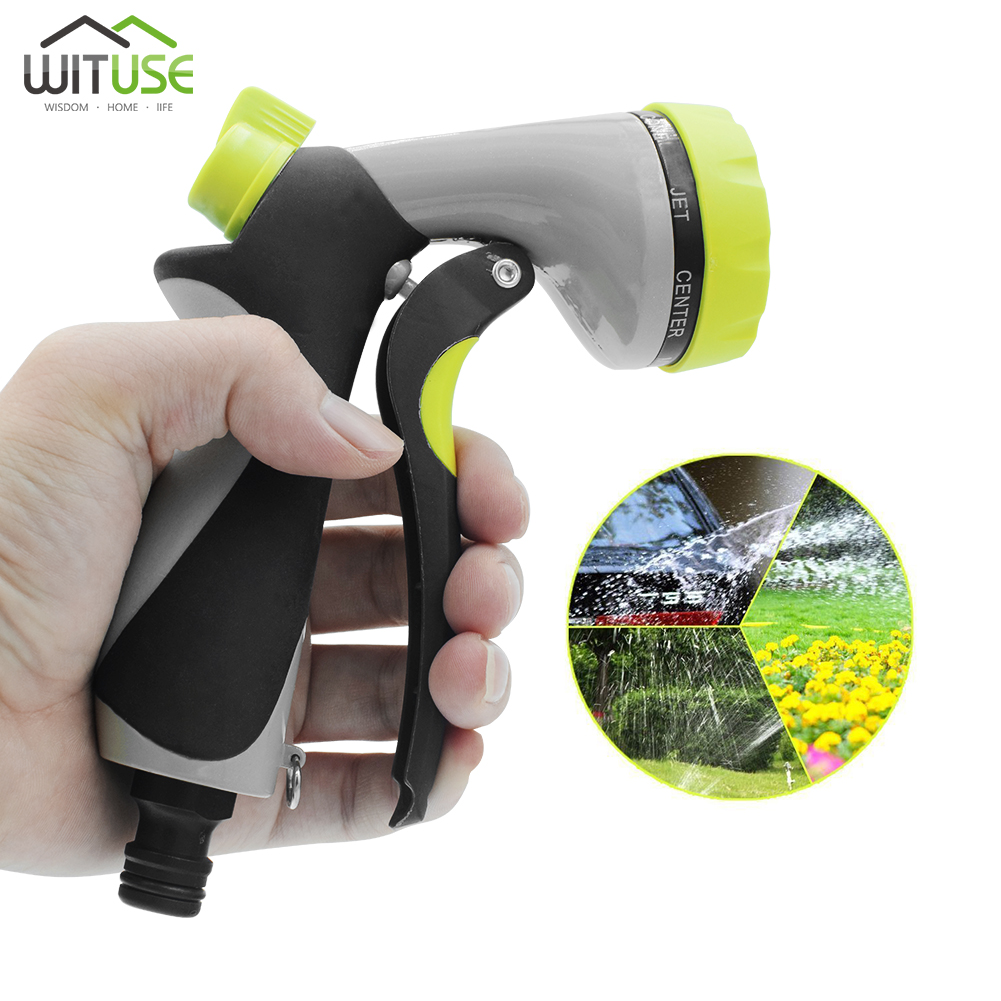 High Pressure 4/7/8 Patterns Garden Water Gun Adjustable Sprayer Hose Spray Water Nozzle Gardening Watering Household Car Wash