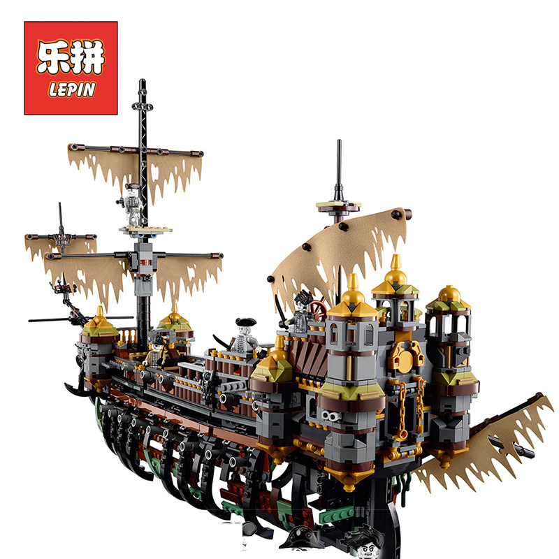 Lepin 16042 Pirate ship Movie Captain Jack Silent Mary Ship Set Caribbean Model Building Blocks Bricks DIY Toy 71042 Children trendy movie silent night jack skull keyring
