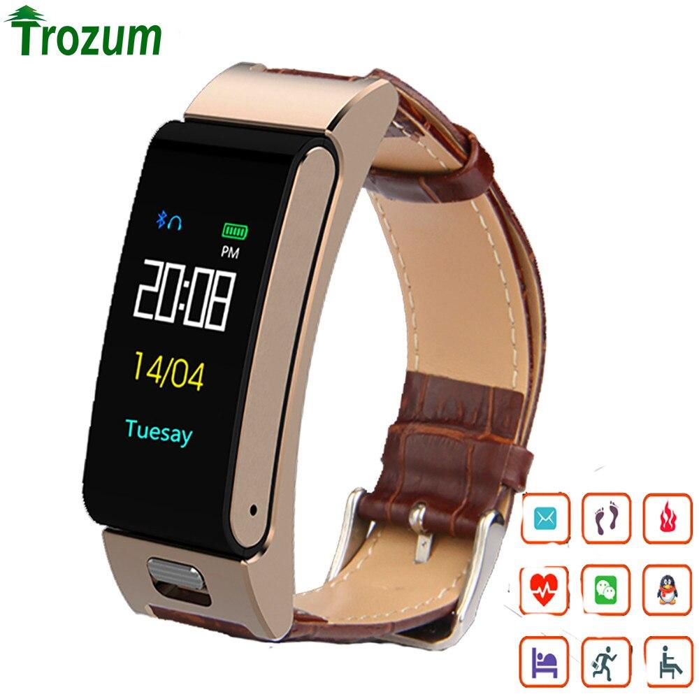 TROZUM A9S couleur écran smart bracelet coeur taux sang pression sport bracelet montre Bluetooth casque appel Smartband