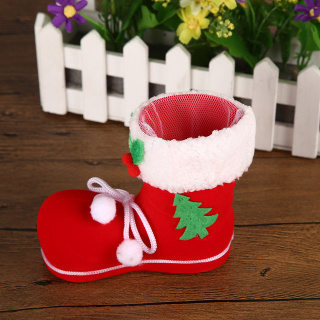 Christmas Boots Flocking Shoes Socks Candy Gift Holder christmas decorations for home navidad christmas tree decorations 3 Sizes