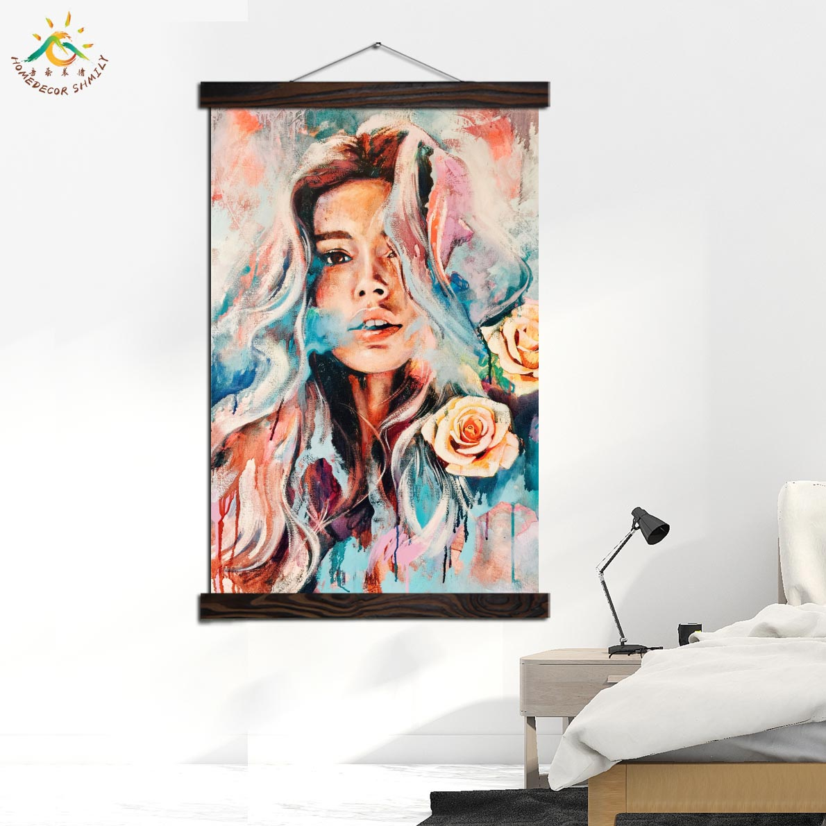 Graphic Art Bloom Nature Girl Modern Canvas Art Prints Poster Wall Painting Scroll Painting Artwork Wall Art Pictures Home Decor in Painting Calligraphy from Home Garden