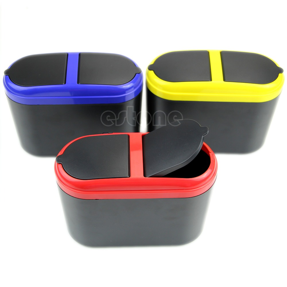 Newest Arrive Mini Dustbin Box Trash Rubbish Can Garbage Dust Case Holder Bin Hook For Car SUV