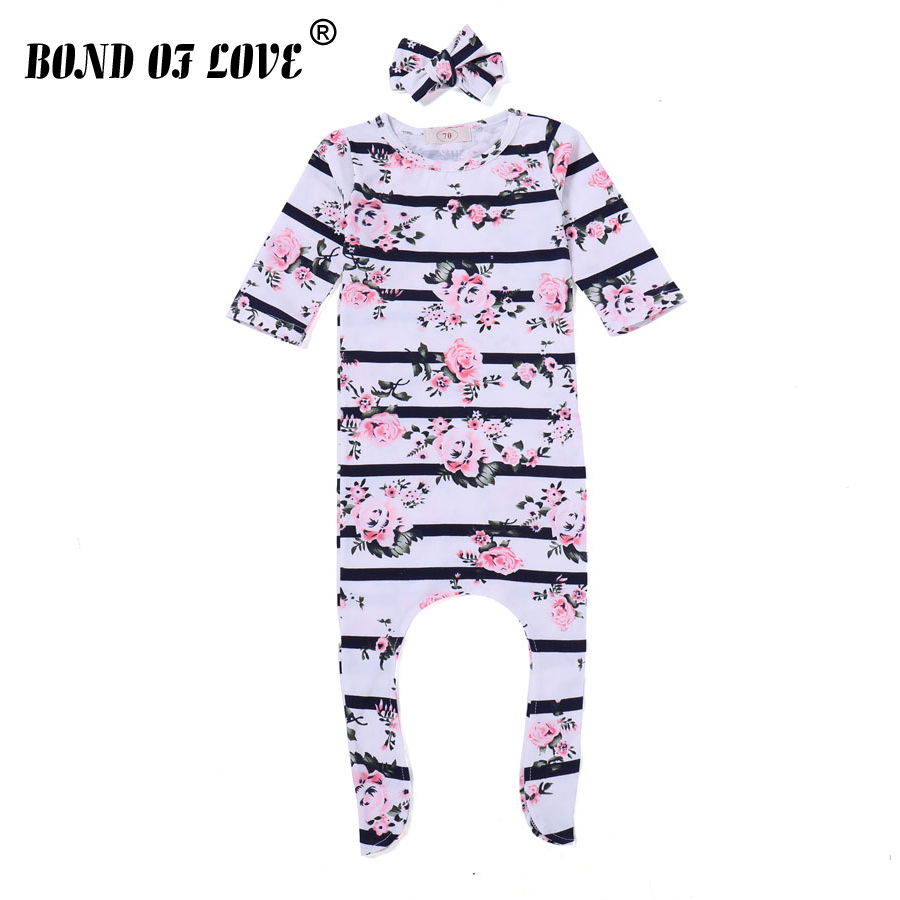 Baby Clothing New Newborn Romper Floral Jumpsuits Baby Boy Girl Floral Romper Headband 2 Pcs Clothes Long Sleeve Infant Clothes