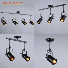 Loft led Ceiling Light 1/2/3/4 heads Vintage creative loft track lamp cloth shop coffee bar light clothing TV bar backdrop lamp vintage ceiling lamp spot light industrial wind bar clothing personality probe to shoot the light track light absorb dome light