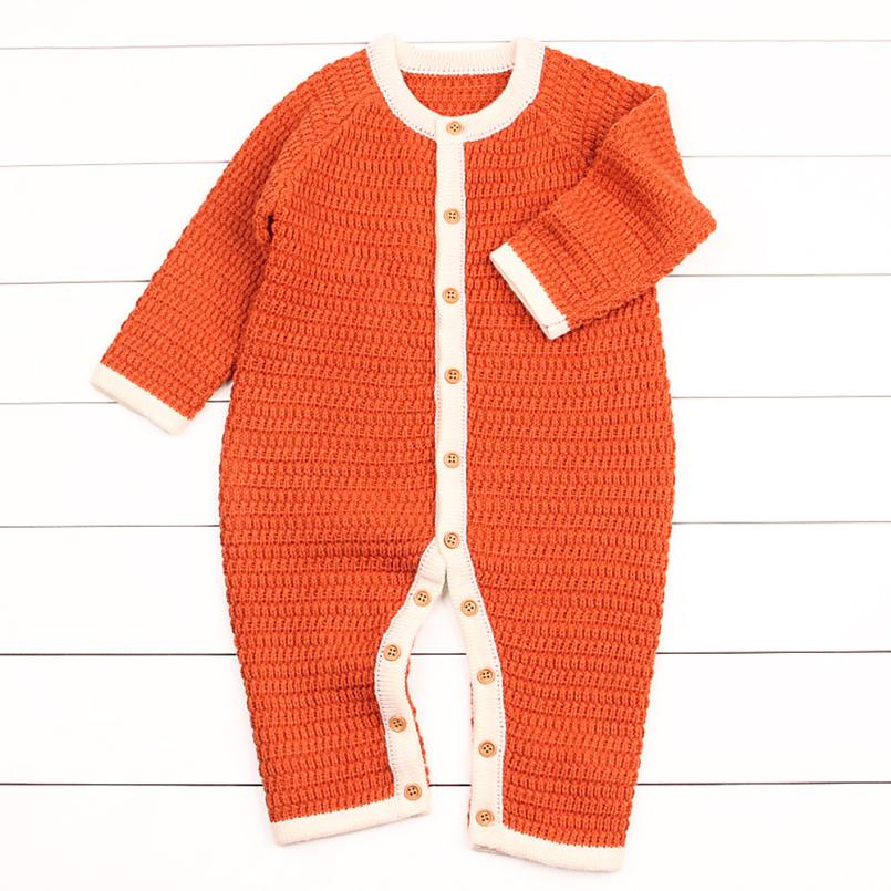6M-24M toddler boy clothes Knitted Jumpsuit Newborn Infant Baby Boy Girl long sleeve Romper High quality winter Baby Clothing 2017 baby girl summer romper newborn baby romper suits infant boy cotton toddler striped clothes baby boy short sleeve jumpsuits
