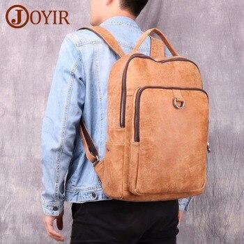 JOYIR Genuine Leather Men Backpack Vintage Backpack Leather School Bag Portable Casual 15 inch Nubuck Leather Travel Bag Tote