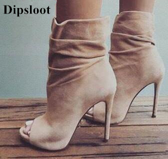 Dipsloot 2018 Beige Suede Leather Slip-on Woman Ankle Boots Summer Peep Toe High Heels Shoes Woman Gladiator Sandals Boots fashion classic women ankle boots summer peep toe high heels suede boots sandals woman shoes